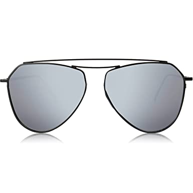 85b2a6ff6c SOJOS Men s UV Protected Shield Flat Mirrored Sunglasses 58 mm (Silver)