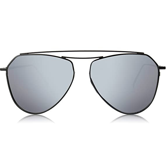 a3af8c07c SOJOS Men's UV Protected Shield Flat Mirrored Sunglasses 58 mm (Silver)