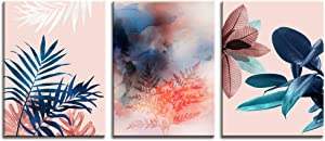Canvas Wall Art for Girls Bedroom Bathroom,3 Pieces Tropical Botanical Prints Abstract Watercolor, Modern Navy Blue Leaf Picture Artwork Framed Ready to Hang,Teen Girls Woman Room Blush Pink Decor