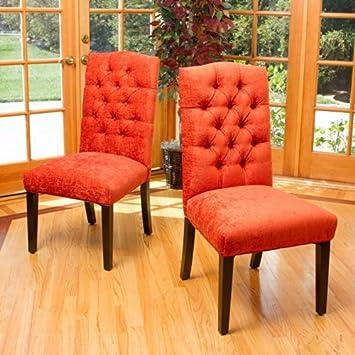 Clark Burnt Orange Soft Fabric Dining Chairs (Set Of 2)