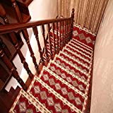 yazi Stair Treads Carpet Mediterranean Style Stair Tread Mats Skid-Resistant Rubber Backing Non-Slip Carpet Stair Treads-Machine Washable Area Rug,29.5x9.4 inch Set of 13