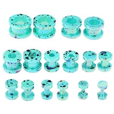 F Fityle 16 Unidades Tapones de Oreja Tuneles de Oídos Dilatador de Acrilico Joyería de Cuerpo, 8 Tamaños Variados - Azul 1: Amazon.es: Joyería