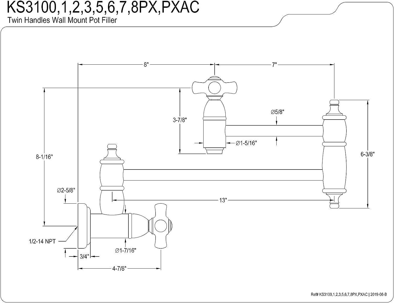 Polished Chrome Kingston Brass KS3101PX Restoration Two-Handle Wall Mount Pot Filler