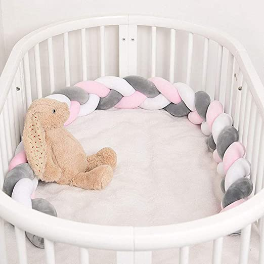 39inch Khaki Baby Braided Crib Bumper Knotted Plush Protective Decorative Nursery Gift Pillow Cushion Newborns Bed Sleep Bumper Safe for Toddler Newborn 1 Meters