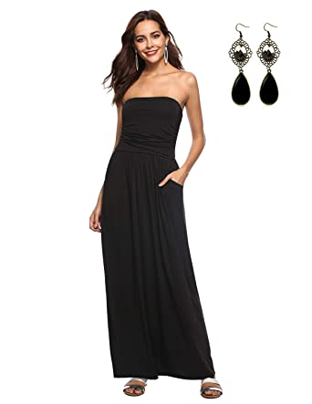 8c93c1aea8878 WAEKIYTL Women's Strapless Maxi Dress with Pocket Casual Long Tube Dresses  for Evening Party Black
