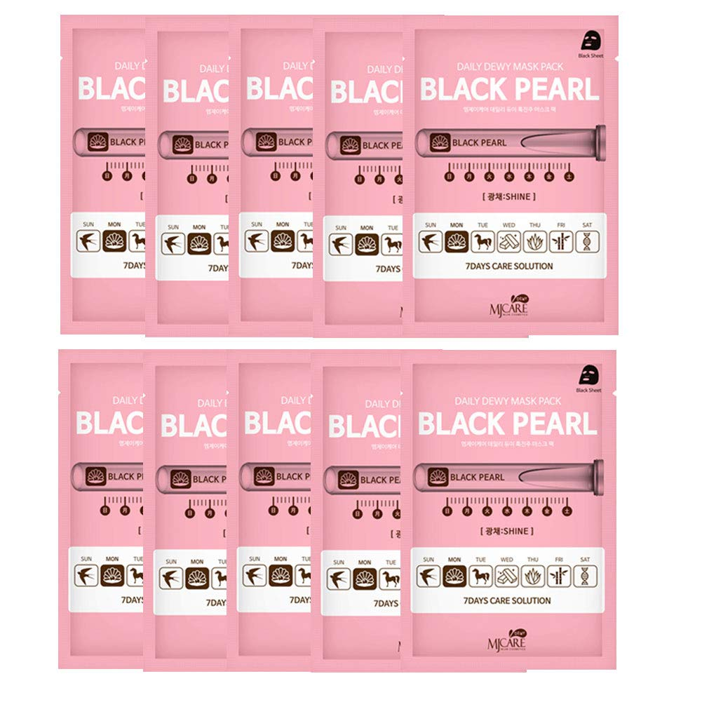 Pack of 10, The Elixir Korean Beauty Intensive Care Daily Dewy Natural Collagen Black Pearl Essence Full Facial Mask Pack Sheet, 7 Day Care Solution - Monday (Shine)