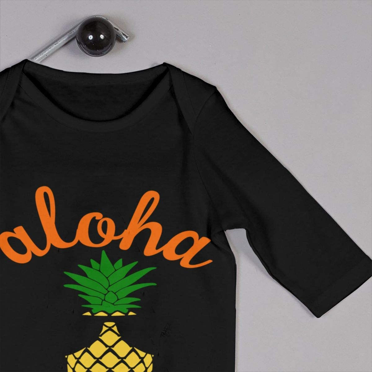 Aloha Beaches Pineapple Hawaii Printed Baby Boys Girls Jumpsuit Long Sleeve Romper Black