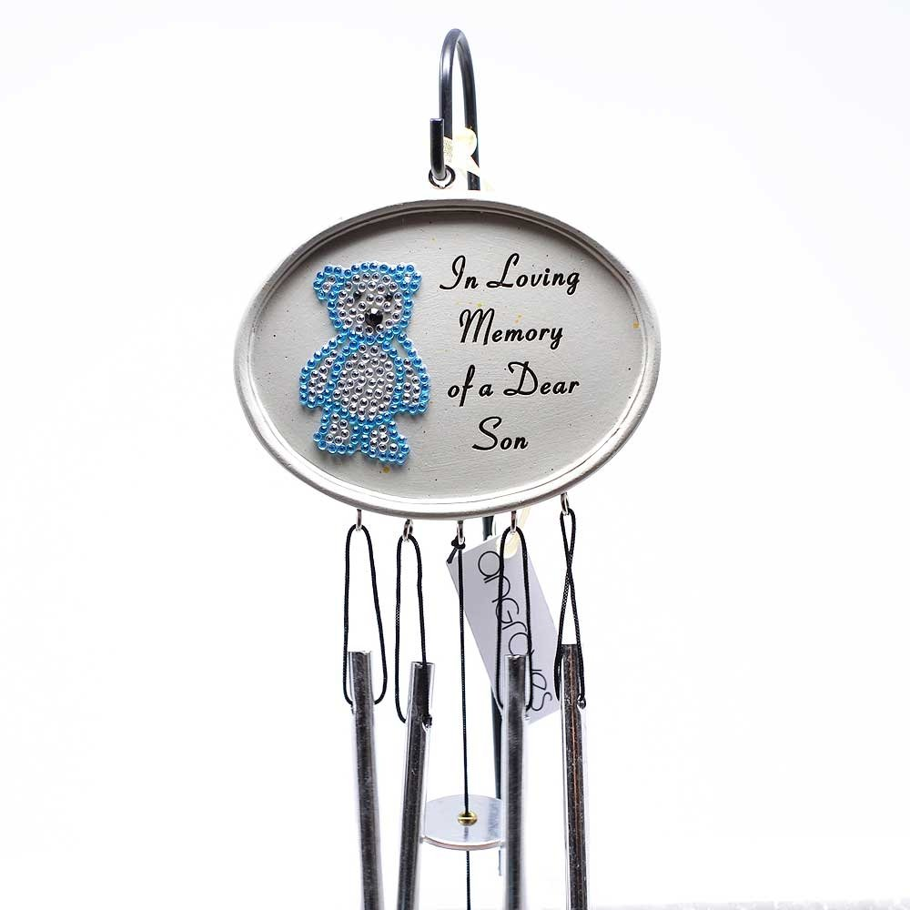 Angraves Special Son Baby Boy Blue Diamante Teddy Memorial Wind Chime Plaque Graveside