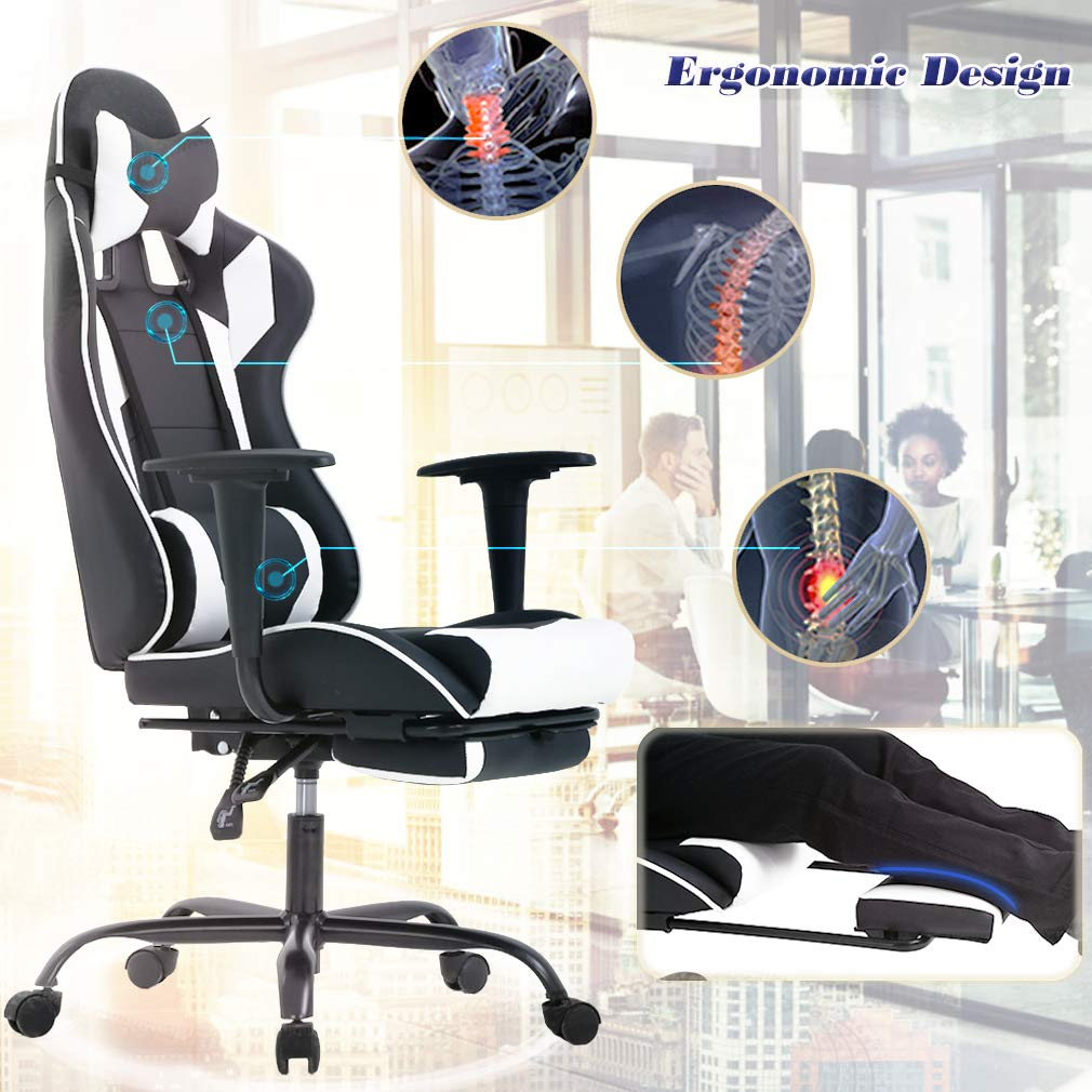 BestOffice Ergonomic Office Chair PC Gaming Chair Cheap Desk Chair Executive PU Leather Computer Chair Lumbar Support with Footrest Modern Task Rolling Swivel Chair for Women, Men White