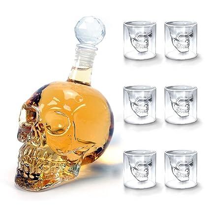 Amzdeal 350ml Botella de Vino Calavera de Cristal Transparente + 6 x 75ml Vaso de Vidrio