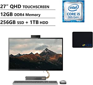 """Lenovo IdeaCentre 27"""" QHD Touch-Display AIO Desktop, Intel i5-9400T, 12GB DDR4 Memory, 256GB PCIe Solid State Drive + 1TB HDD, HDMI, WiFi, HD Webcam, Wireless Mouse&Keyboard, KKE Mousepad, Win10"""