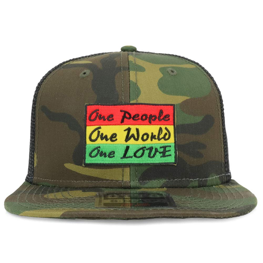 Armycrew Rasta One People One World One Love Patch Structured Camo Trucker Cap - Black