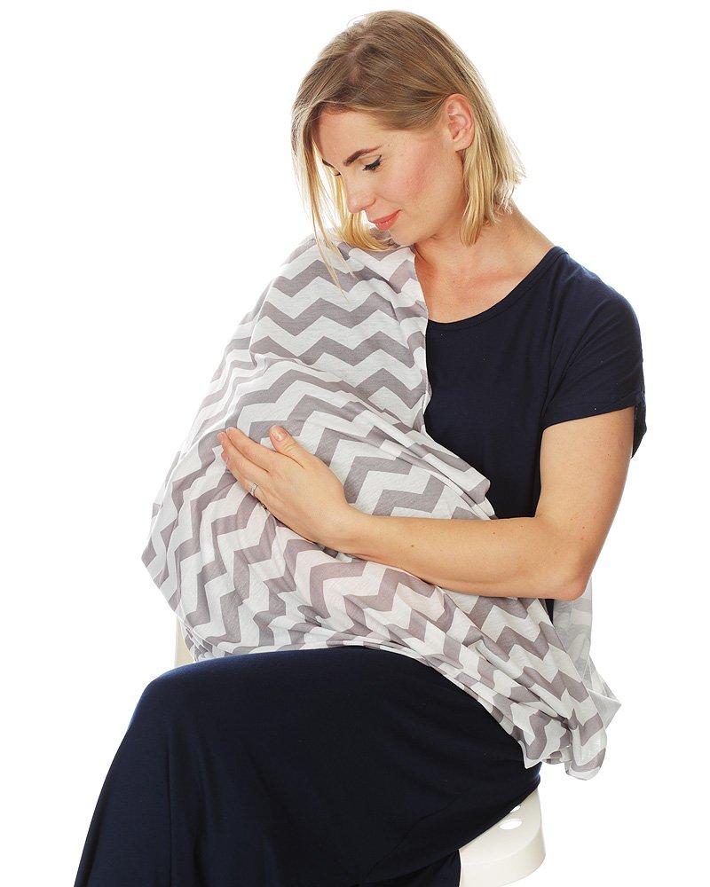 Kiddo Care Nursing Cover Infinity Nursing Scarf for Breastfeeding (Grey White Chevron)