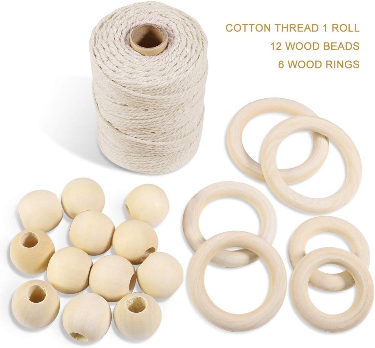 SUPVOX Corde de macram/é en Coton Naturel pour Tapisserie Murale Suspendu Plante Craft Attrape-r/êves Tricot S/ûr Durable Doux Non Teint 3 mm