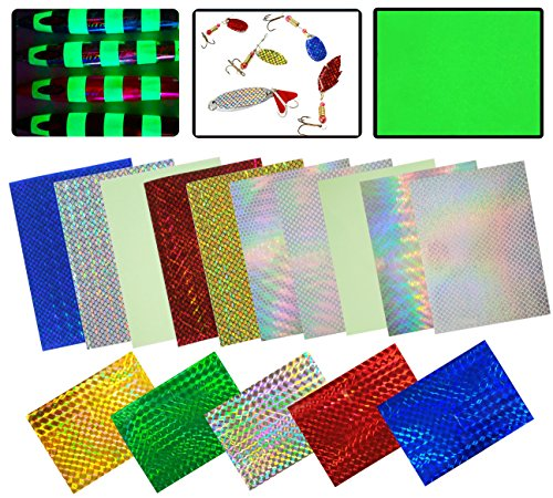 JSHANMEI Holographic Adhesive Film Flash Fishing Lure Prism Tape Scale Skin Laser Lure Metal Hard Bait Stickers Reflective Film DIY Art Craft Fly Tying Materials Tool Multiple Colors 15pcs