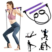 ShaggyDogz Portable Pilates Bar Kit with Resistance Band Yoga Exercise Pilates Bar with Foot Loop Toning Bar Yoga Pilates for Yoga,Stretch,Twisting,Sit-Up Bar Resistance Band