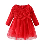 LittleSpring Flower Girl Lace Dress for Party and Wedding with Bowknot Long Sleeve Red Size 9 Months