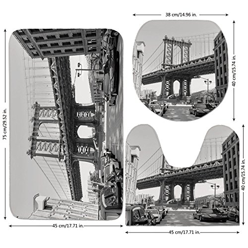 3 Piece Bathroom Mat Set,Landscape,Brooklyn New York Usa Landmark Bridge Street with Cars Photo,Black White and Charcoal Grey,Bath Mat,Bathroom Carpet Rug,Non-Slip (New York Brooklyn Cars Used)