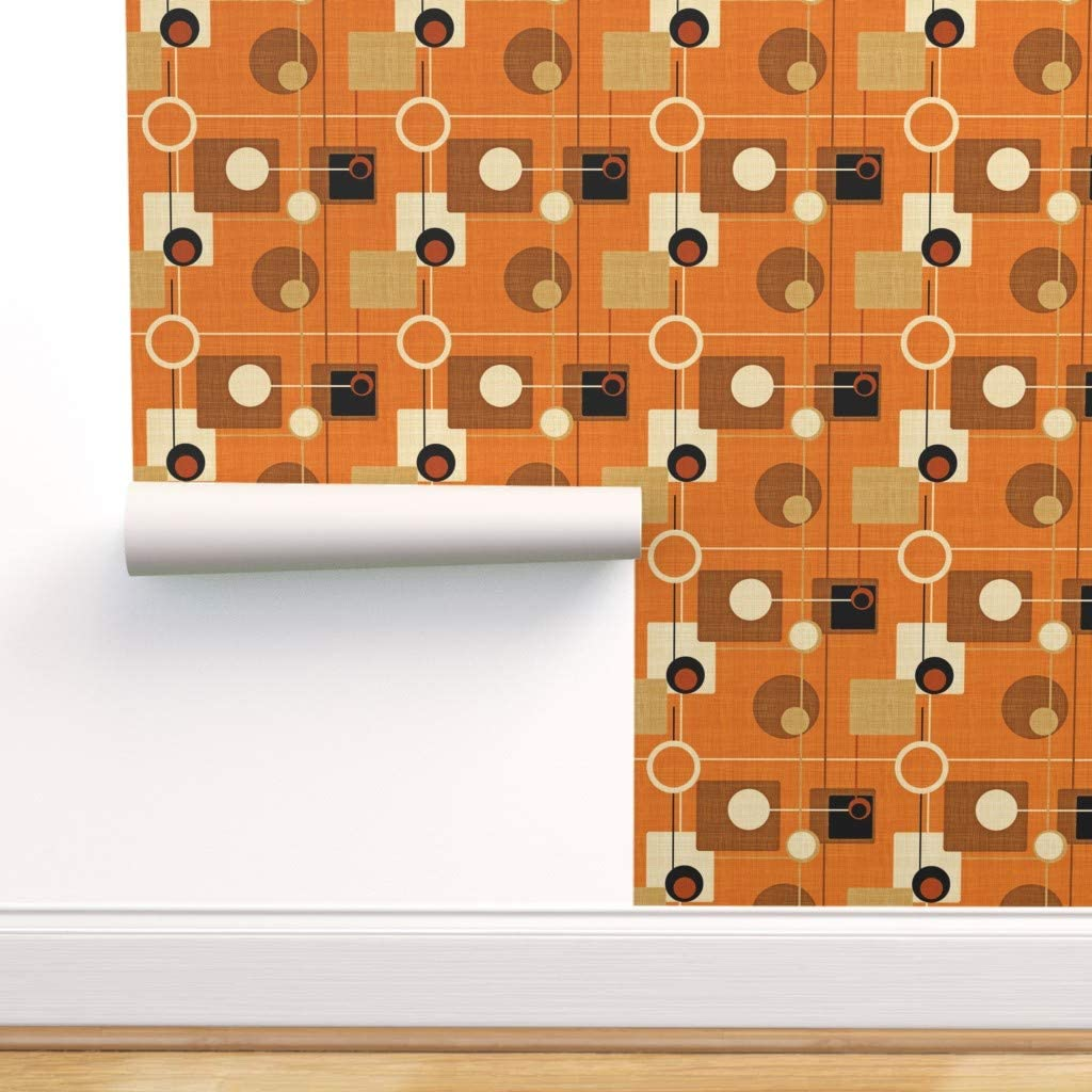 Mid Century Modern Atomic Wallpaper Bubbles And Sticks By Gigirn Custom Printed Removable Self Adhesive Wallpaper Roll by Spoonflower