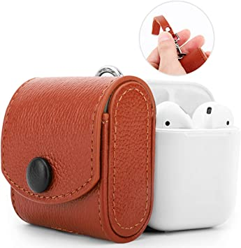 MoKo Funda Protectora Compatible con AirPods 1, Estuche de Cargador Protector Anti-arañazo de Cuero Genuino, a Prueba de Golpes Protectora Completa para Airpods 1 Estuche de Carga: Amazon.es: Electrónica