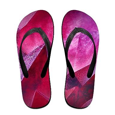 Couple Flip Flops Geometry Purple Print Chic Sandals Slipper Rubber Non-Slip House Thong Slippers