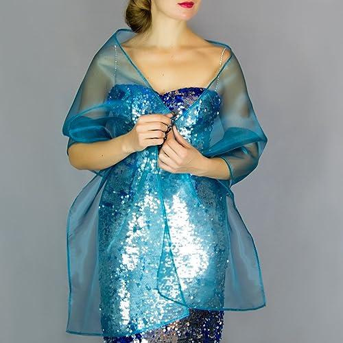 Chal organza color verde azul pavo real novia boda novia para vestido de fiesta