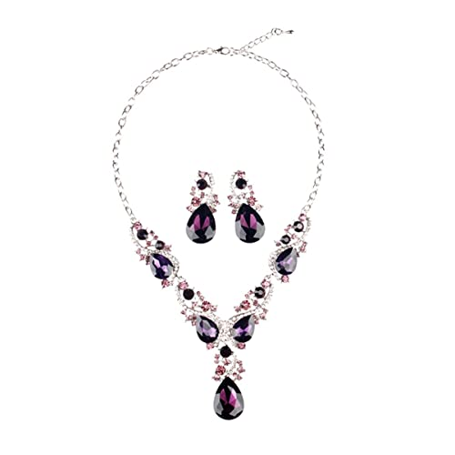 00ffe5850 Amazon.com: Hamer Costume Jewelry Purple and White Crystal Choker Pendant  Statement Charm Necklace and Earrings Sets Women (Purple, Alloy): Jewelry