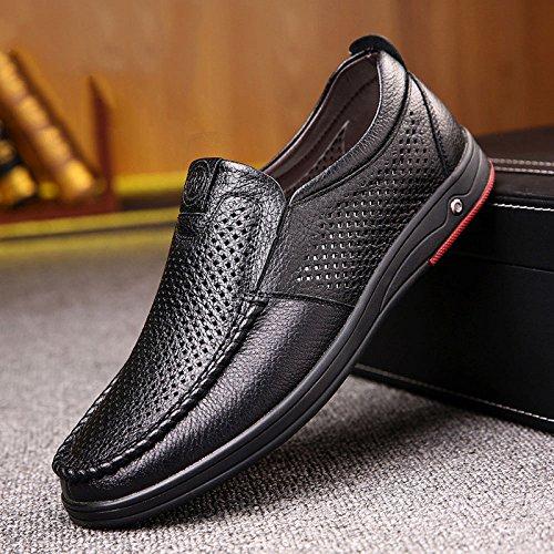 LEDLFIE Chaussures pour Hommes en Cuir Véritable Chaussures Slip-on Casual Black JdvBjK