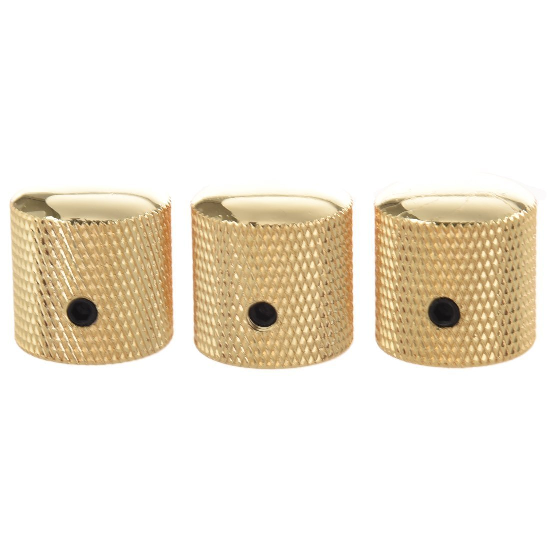 SODIAL(R) 3PCS Gilded Metal Dome Knobs Knurled Barrel for Electric Guitar Parts Gold 057777A1