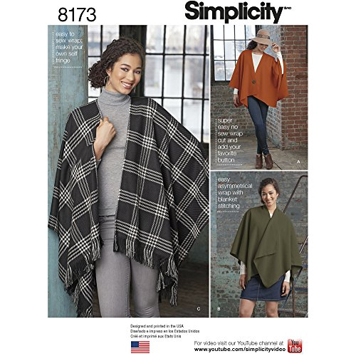 Simplicity Pattern 8173 Misses' Fleece Poncho Wraps OS (ONE Size) ()