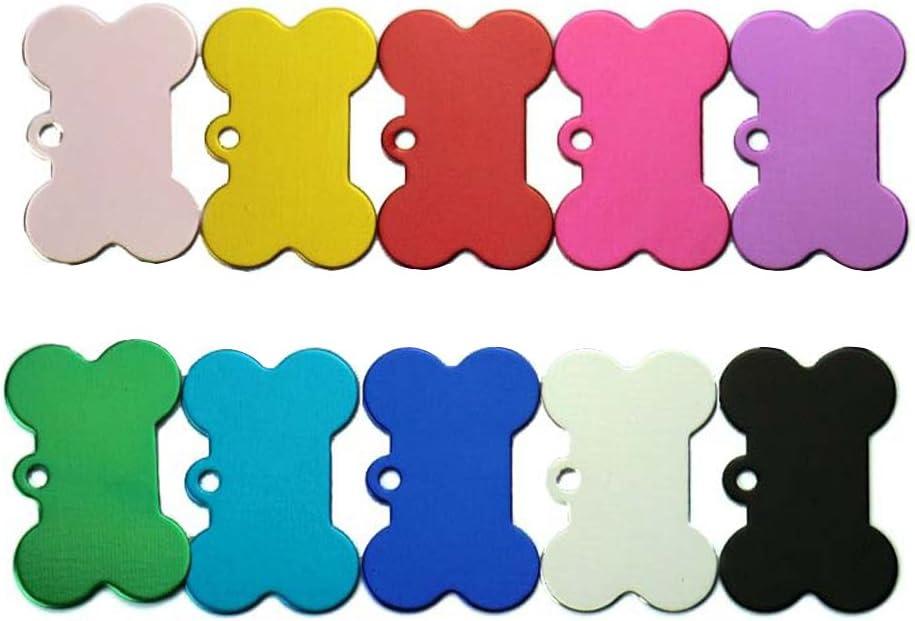 UEETEK Placas de identificación perro etiquetas del mascotas Forma de hueso para gatos Perrito 10 piezas