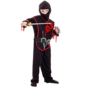 Child Ninja Costume Boys Red Dragon Black Martial Arts Warrior Samurai Kids Fancy Dress Outfit 3