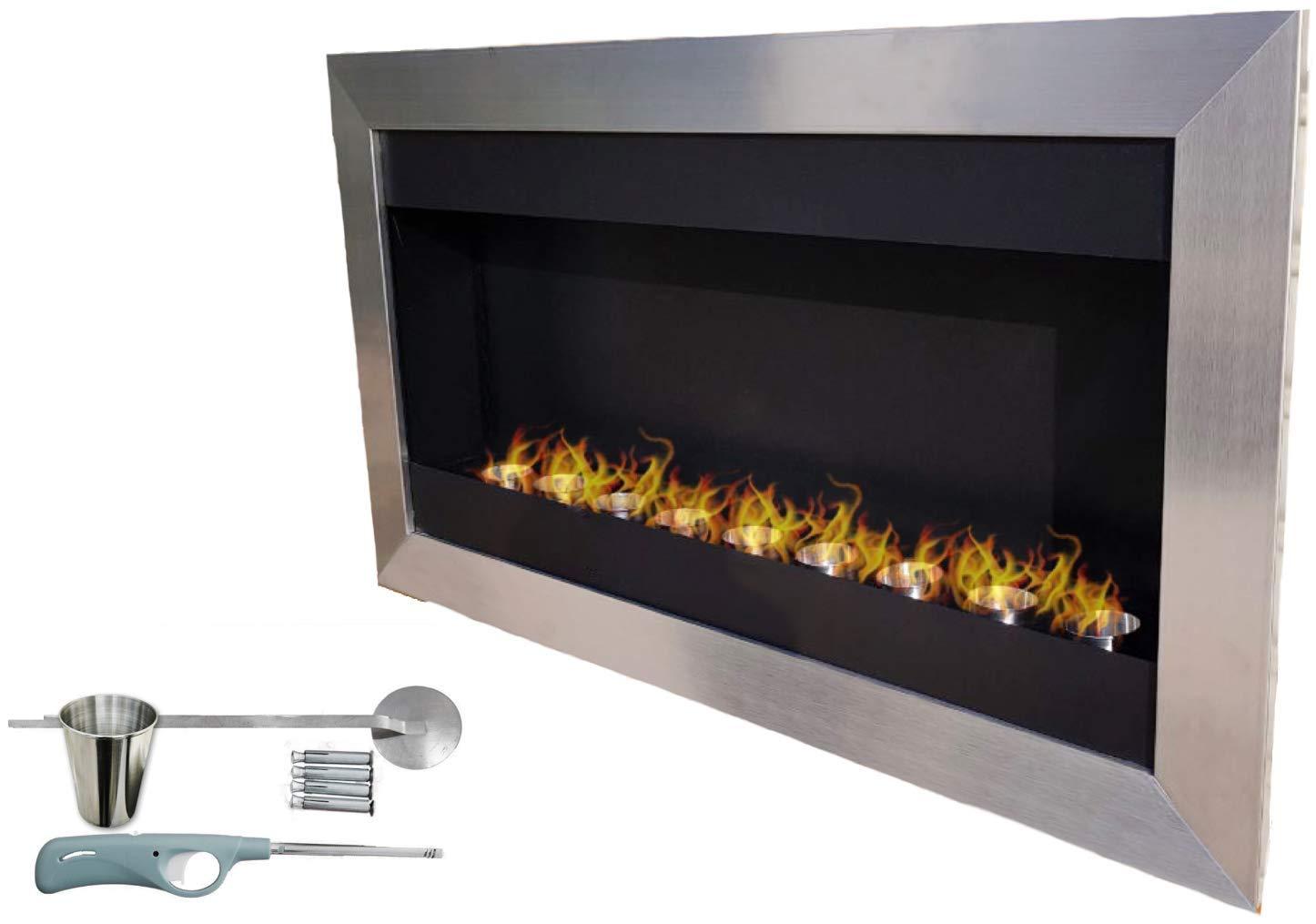 Bio-Ethanol-Design Wandkamin 115cm aus Edelstahl mit Brennkammer