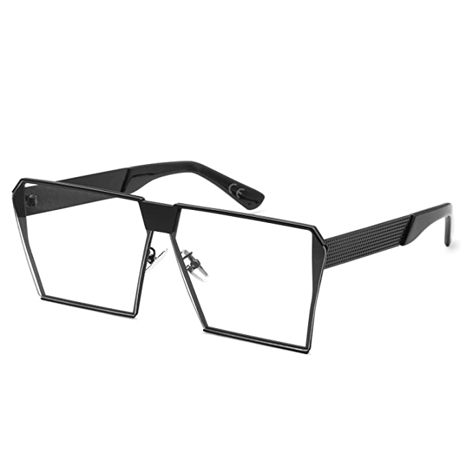 c9754576410a AMZTM Outdoor Reading Glasses Square Metal Frame Glass Lens Oversized  Non-polarized Sunglasses For Women and Men(Black Clear
