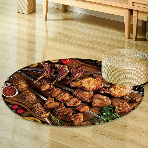 Round Rugs for Bedroom Kebab Chicken Wings Potato on Skewer  Circle Rugs for Living Room -Round 71