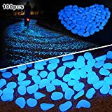 Amagabeli 100 Pcs Glow in the Dark Pebbles for Walkways Décor Glow Stones Rocks for Garden Outdoor Decorative Luminous Pebbles Gravel Fairy Garden Pathway Walkway Fish Tank Aquarium Ornaments in Blue