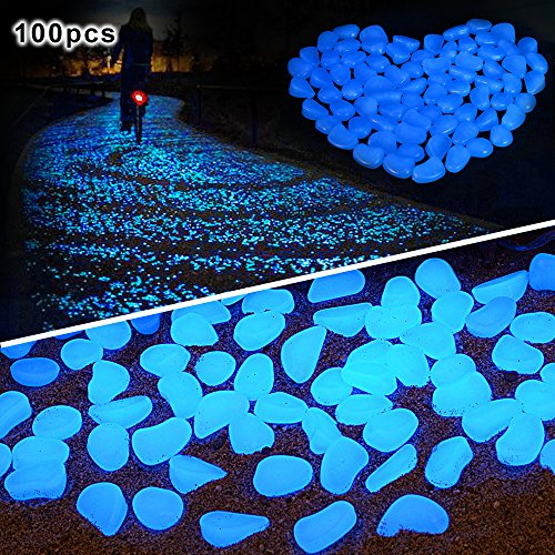 100 pcs Glow in the Dark Pebbles for walkways Décor Glow Stones rocks for garden outdoor Decorative Luminous Pebbles Gravel Fairy Garden Pathway Walkway Fish Tank Aquarium Ornaments in - Radioactive Blue