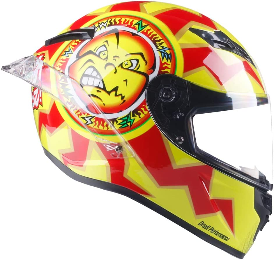 46 Orange, S Woljay Casque de Moto Int/égral Course Scooter pour Adultes