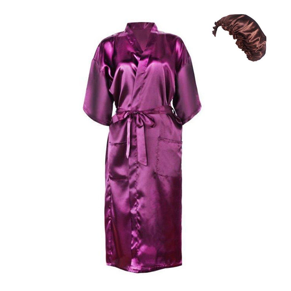 Bel Avril Damen Kimono Lang Satin Morgenmantel Bademantel Nachthemd V Ausschnitt Mit Gürtel, mit einem geschenk - Absacker
