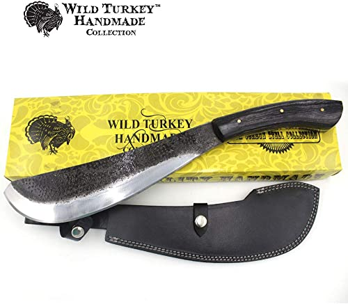 Wild Turkey Handmade Collection 17 Fixed Blade Pack Golok Knife w Leather Sheath Included