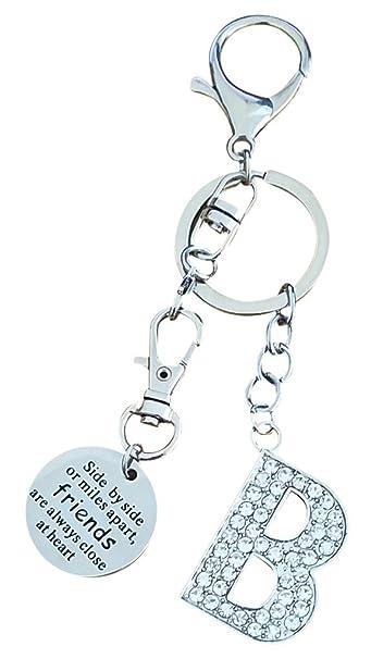 AM Landen Friendship Key-chain Best Friend Key-chain Alphabet Letter Silver  Key-chain