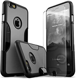 iPhone 6 Plus Case, SaharaCase Black Gray +Bonus Screen Protector Tempered Glass Rugged Slim [Best Rated Protective Kit] Image Enhancing Design for Apple iPhone 6s Plus & 6 Plus - Black Gray