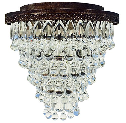 The Weston Extra Large Antique Copper Flush Mount Crystal Drop Chandelier