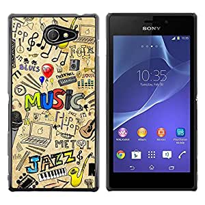 LOVE FOR Sony Xperia M2 MUSIC JAZZ PATTERN Personalized Design Custom DIY Case Cover