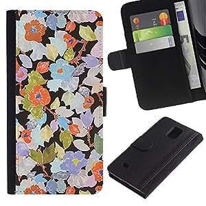 All Phone Most Case / Oferta Especial Cáscara Funda de cuero Monedero Cubierta de proteccion Caso / Wallet Case for Samsung Galaxy Note 4 IV // Rustic Wallpaper Floral Art