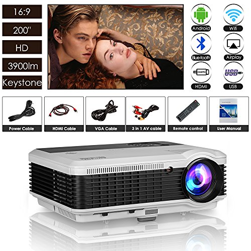 HD Wireless Bluetooth Projector 3900 Lumens LCD LED WXGA Android Wifi Airplay Home Theater Proyector HDMI USB VGA AV Built-in Speakers for Movies Games DVD TV Outdoor Party Xbox iPhone iPad Laptop