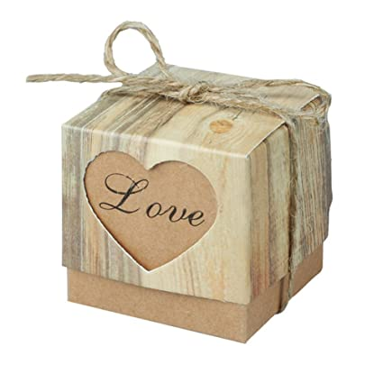Amazon 10 pcs wedding love candy box kraft gift heart box with 10 pcs wedding love candy box kraft gift heart box with burlap twine chic wedding favors junglespirit Images