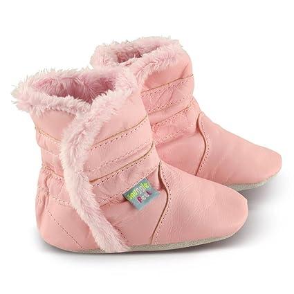 Snuggle Feet - Suaves Cargadores De Cuero Del Bebé Rosa Clasico (6-12 meses