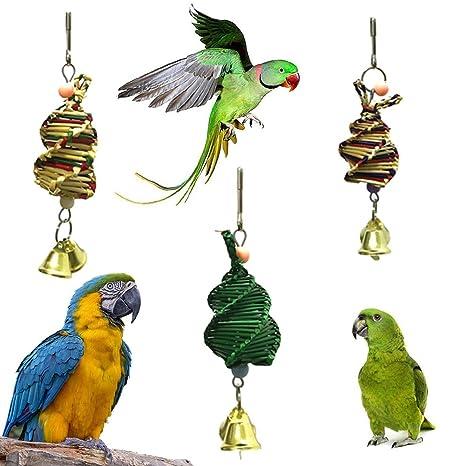Danigrefinb Juguete para pájaros, pájaros, Loros, Hierba Tejida ...