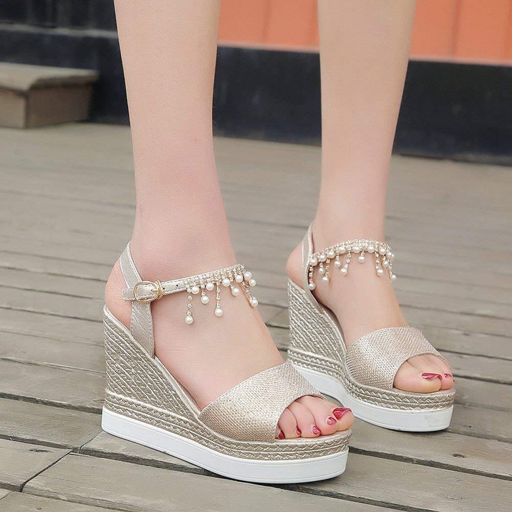 Thick-Soled Plattform Schuhe Keil Sandalen Student Weiblichen Fisch Mund Strand Schuhe Student Sandalen High-Heels (Farbe   Gold Größe   35) 63aa0e